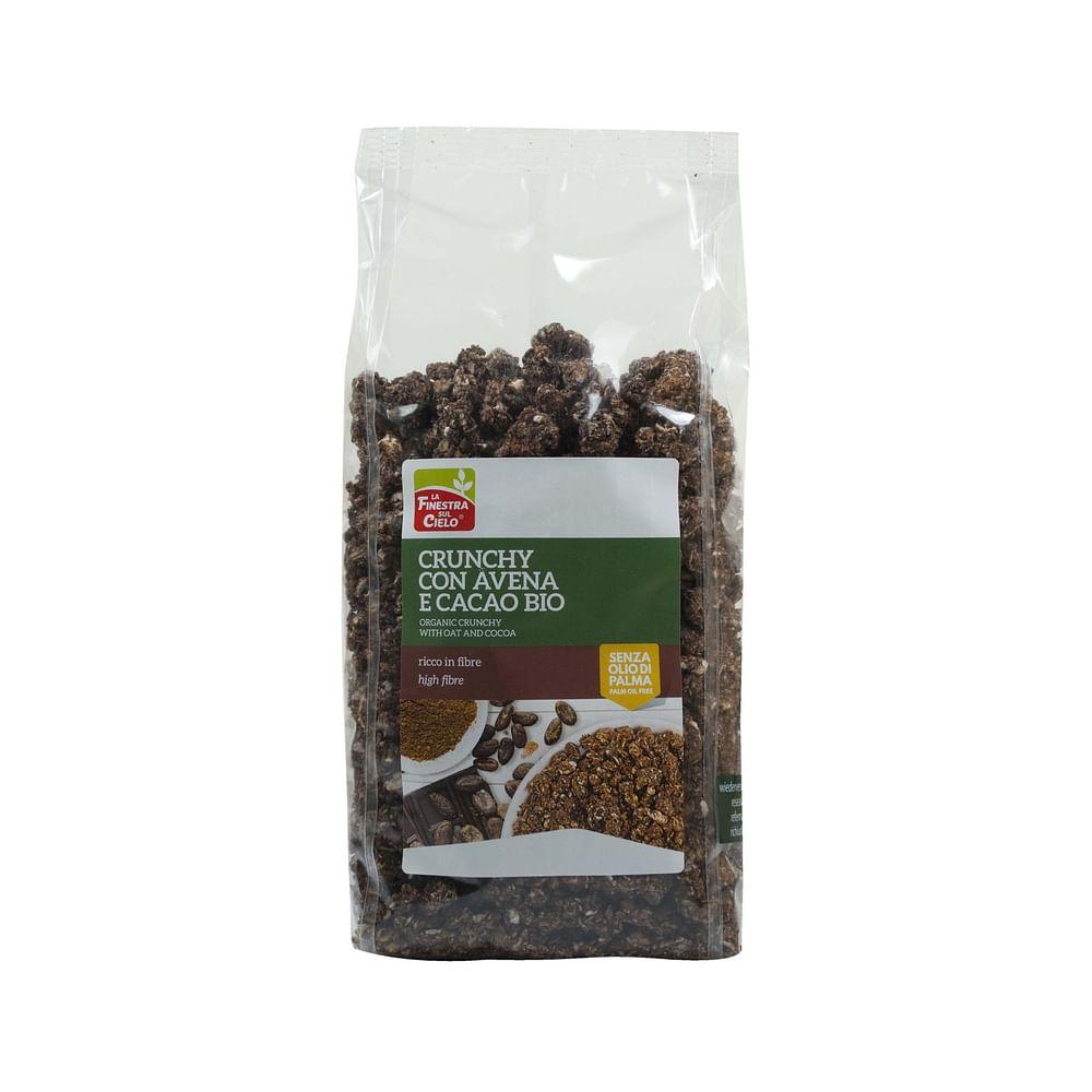Fsc crunchy con avena e cacao bio ad alto contenuto di fibre con olio di girasole senza olio di palma 375 g